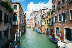 Vintage style european old architecture with canal in Venice, Italy. Venice, Italy - August 19, 2016 : vintage style european old architecture with canal Royalty Free Stock Image