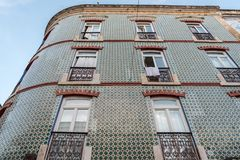 A vintage style façade in the centre of Lisbon, Portugal. A vintage style façade with azulejo tiles in the centre of Lisbon, Portugal stock image