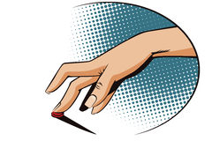 Vintage style. Female finger presses the button. Stock illustration. Style of pop art and old comics. Female finger presses the button Stock Photos