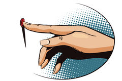 Vintage style. Female finger presses the button. Stock illustration. Style of pop art and old comics. Female finger presses the button Stock Image