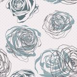 Vintage style. Floral rose pattern. Vintage floral seamless pattern with hand drawn roses Royalty Free Stock Image