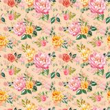 Shabby chic watercolour floral seamless pattern. Hand painted pink and yellow flowers on pink beige background. Botanical print  royalty free illustration