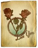 Vintage Style Floral Valentines Background Design stock illustration