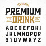 Vintage style font. Traditional premium drink simple label design alphabet. Ideal for any design in vintage style Stock Image