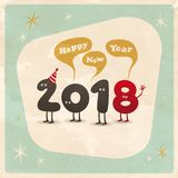 Vintage style funny greeting card - Happy New Year 2018. Royalty Free Stock Photo