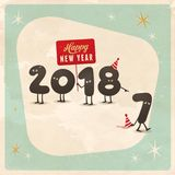 Vintage style funny greeting card - Happy New Year 2018. Royalty Free Stock Images