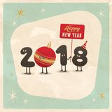 Vintage style funny greeting card - Happy New Year 2018. Stock Photography
