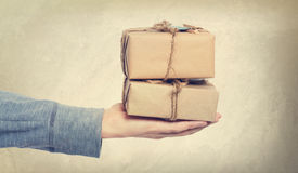Vintage style gift boxes Royalty Free Stock Photo