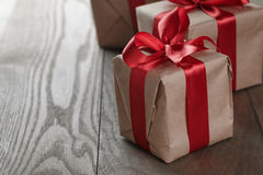 Vintage style gifts tied with ribbon and bow Stock Photography