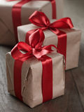 Vintage style gifts tied with ribbon and bow Royalty Free Stock Image