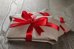 Vintage style gifts tied with ribbon and bow Stock Images