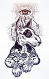 Vintage style Bull terrier in flash art tattoos. Royalty Free Stock Image
