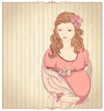 Vintage style graphic portrait of a pregnant woman Stock Images