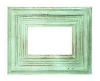 Vintage style green colored frame isolated. On white background. shabby chic picture Stock Images