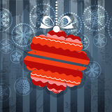 Vintage style greeting card. With ornamented christmas bauble vector illustration