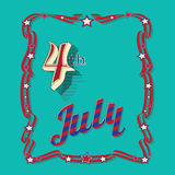 Vintage style greeting card for Independence Day Stock Images
