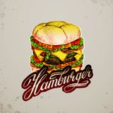 Vintage style hamburger sign background Stock Images