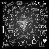 Vintage Style Hand Lettered Ampersands and Royalty Free Stock Images