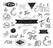Vintage style hand lettered ampersands and Stock Image