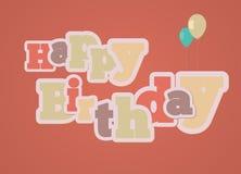 Vintage style happy birthday card. Vintage style happy birthday gift card on red background Royalty Free Stock Photos