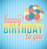 Vintage Style Happy Birthday Card. Retro style Happy Birthday to You card with blue stripes and Balloons Stock Photos