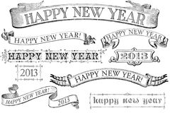 Vintage Style Happy New Year Banners. A set of distressed, old-style Happy New Year stamps for 2013. Similar in style to imprints from the 1800s. Isolated on royalty free illustration