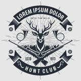 Vintage style hunt club logo with hunting rifles. royalty free illustration