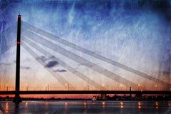 Vintage style image of bridge at night Stock Photography