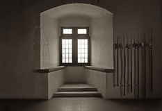 Warrior Room in Castle with Battle Axes and Window Royalty Free Stock Photos