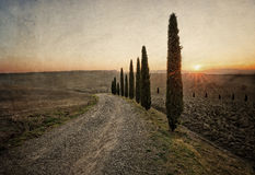 Vintage style image of valley of fields and hills Royalty Free Stock Photo