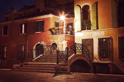 Vintage style image of Venice street at night Stock Photo