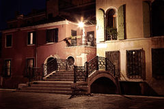 Vintage style image of Venice street at night Royalty Free Stock Image