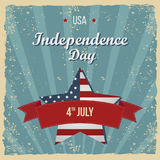 Vintage Style Independence Day poster. Greeting card. Hand-lettering party invitation. Vintage typography illustration with star a Royalty Free Stock Images