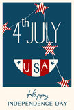 Vintage Style Independence Day poster Stock Photography