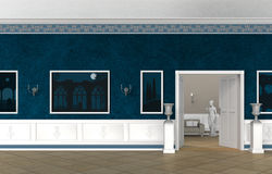 Vintage style interior of a villa, castle, museum or gallery. 3 D rendering of a fictitious vintage style museum or gallery Royalty Free Stock Photo