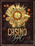 Vintage style invitation card design with roulette wheel, playing cards and casino chips. Vintage style invitation card design with roulette wheel, playing royalty free illustration