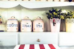 Vintage style. Jar and Pot in the kitchen. Royalty Free Stock Images
