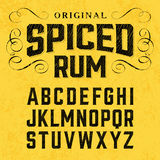 Vintage style label font with sample design. Vintage spiced rum label font with sample design. Ideal for any design in vintage style Stock Images