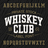 Vintage style label font with sample design Stock Photo
