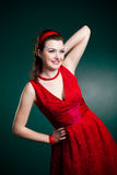 Vintage style lady in red Royalty Free Stock Image