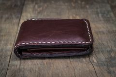 Vintage style of leather wallet Stock Photos