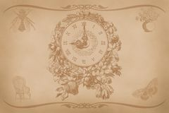 Vintage style letter, greeting card with a picture of the clock, nostalgic sentimental background paper stock illustration