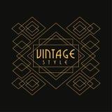 Vintage style logo, luxury geometric monogram vector Illustration, art deco design element in golden and black colors stock photo
