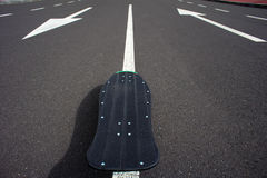 Vintage Style Longboard Black Skateboard Stock Photography