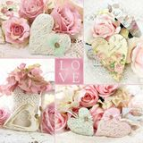 Vintage style LOVE collage. With hearts and flowers in pastel colors Royalty Free Stock Image