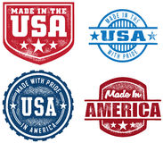 Vintage Style Made In USA Stamps Stock Photo