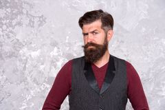 Vintage style. Man stylish businessman. Business man bearded wear fashionable vintage vest. Businessman well groomed. Hairstyle beard. Business concept. Feel royalty free stock images