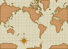 Vintage style map. With compass rose Royalty Free Stock Photo