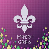 Vintage style Mardi Gras carnival vector illustration. Fleur De Lys Grunge with text. Stock Photos