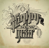 Vintage style new year card Royalty Free Stock Photo